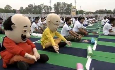 Motu Patlu join Modi for yoga session in Ranchi