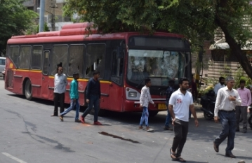 New Delhi: A bus that was vandalised by public after a motorist rammed his car into devotees emerging from a mosque in Delhi