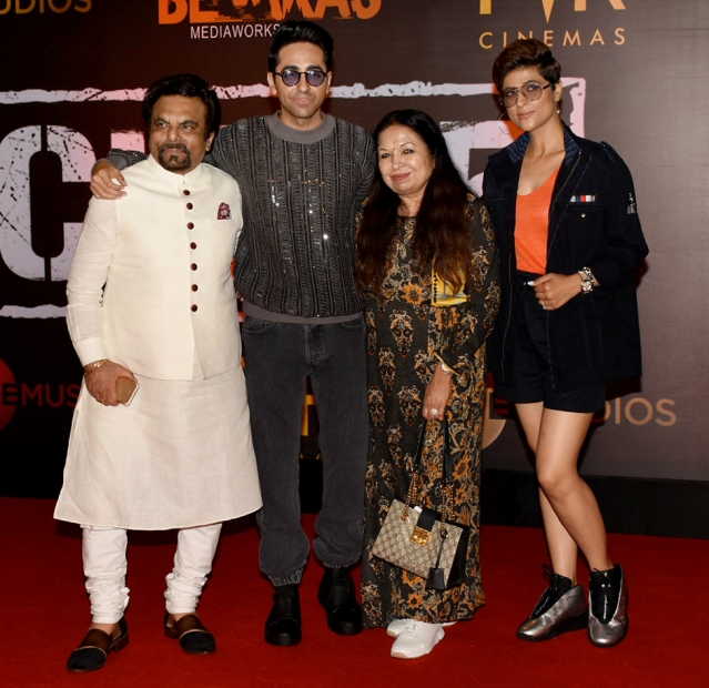 Ayushmann, Tahira and their family at the screening.
