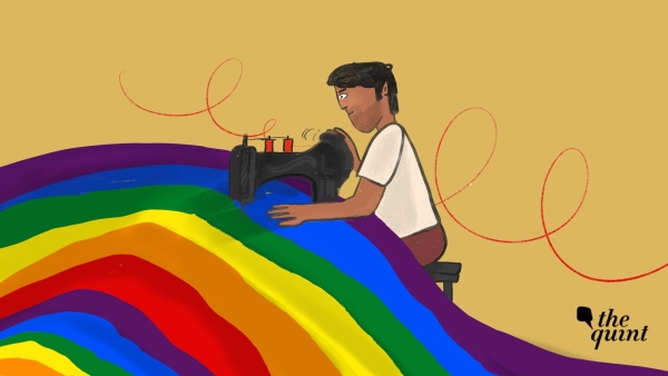 Illustration of the creator of the rainbow flag, Gilbert Baker, stitching the flag.