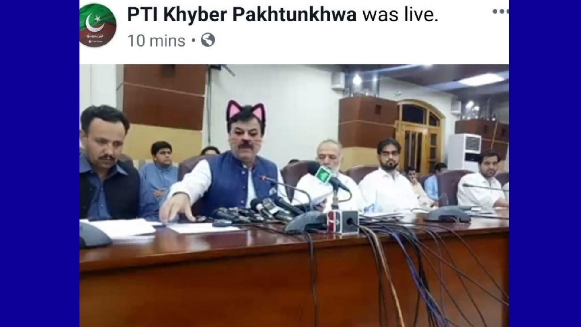 Pakistan's Ruling Party Live Streams Press Meet With Cat Filter