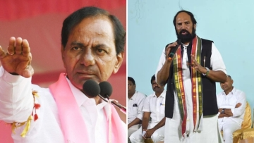 Telangana Chief Minister K Chandrashekar Rao (Left); Former Congress state chief Uttam Kumar Reddy.