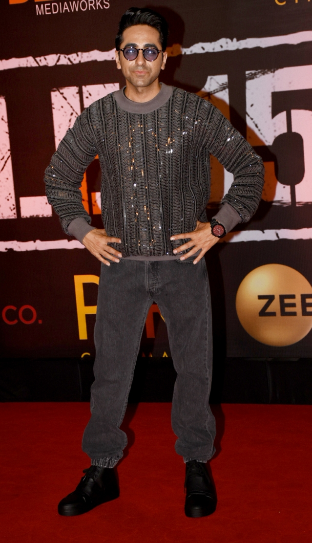 We're loving Ayushmann's sequined grey sweater.