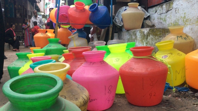 Colourful pots dot every street corner in Chennai as the water crisis grips the city.