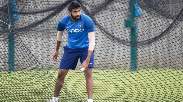 Jasprit Bumrah during a practise session in England.
