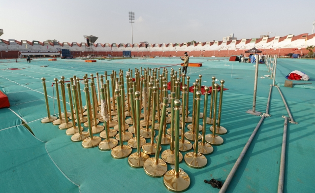 Preparations underway in Ranchi for Yoga Day celebrations.