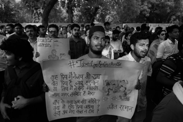 Hundreds were present at the protest against lynchings at Jantar Mantar on Wednesday.