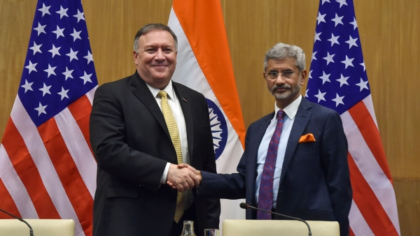 External Affairs Minister S Jaishankar with US Secretary of State Mike Pompeo during a press conference to release their joint statement, in New Delhi.