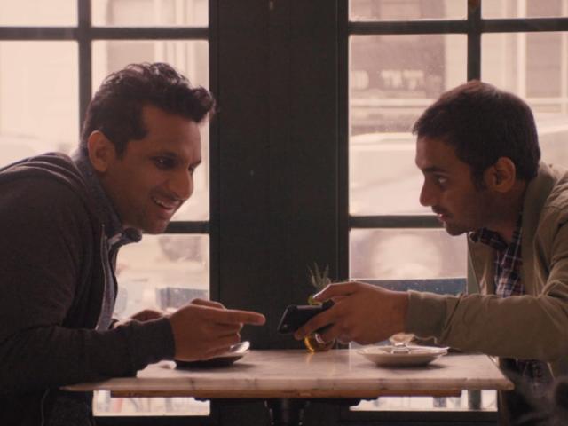 "Ravi Patel and Aziz Ansari in <i>Master of None</i>'s 'Indians on TV' episode."" data-reactid=""295″><figcaption class="