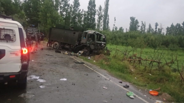 The blast took place at the Arihal village, with reports saying that a Casper vehicle of the 44 RR was damaged.