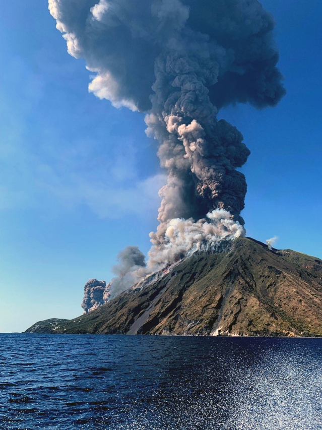 Smoke billows from the volcano on the Italian island of Stromboli, Wednesday, 3 July 2019.