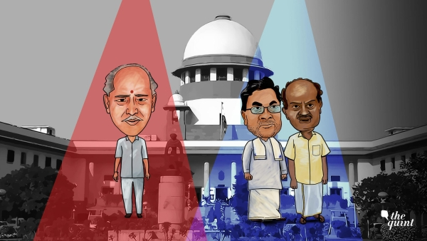 Rebel MLAs and the Speaker of the Karnataka Assembly have competing claims in the Supreme Court.