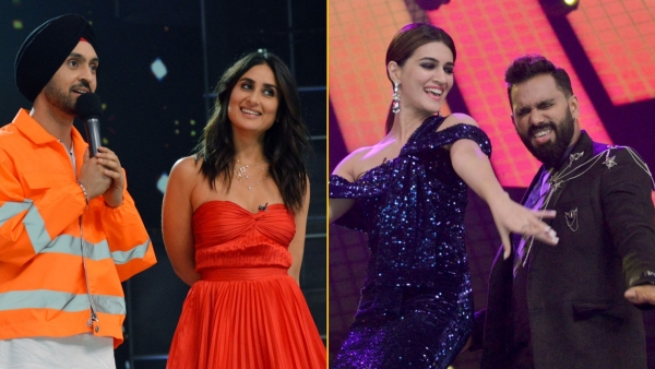 Diljit Dosanjh, Kareena Kapoor, Kriti Sanon and Bosco Martis on the sets of <i>Dance India Dance</i>.