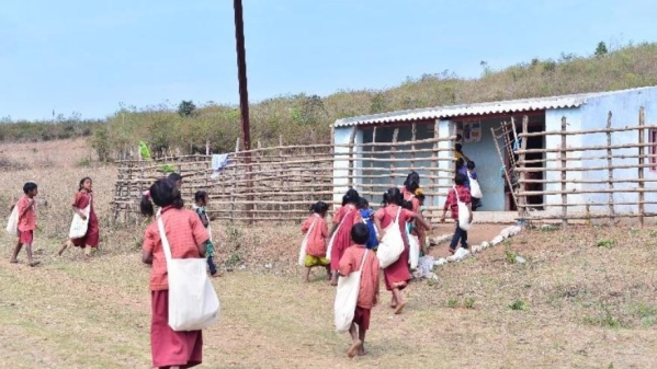 Children of Rolugunta on their way to the village school.