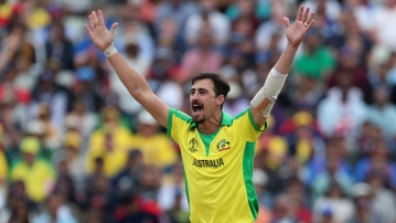 Australia's Mitchell Starc appeals successfully for the wicket of England's Jonny Bairstow during the Cricket World Cup semi-final match between England and Australia at Edgbaston in Birmingham.