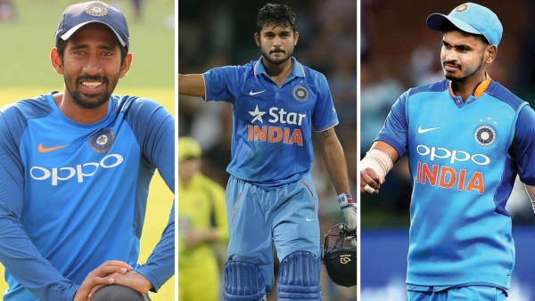 From left: Wriddhiman Saha, Manish Pandey and Shreyas Iyer.