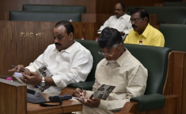 Amaravati: TDP leader N. Chandrababu Naidu during the presentation of the annual state Budget 2019-20 at the State Legislative Assembly, in Amaravati on July 12, 2019. (Photo: IANS)