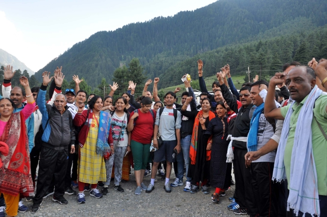 Pilgrims enroute to Amarnath on the first day of the yatra.