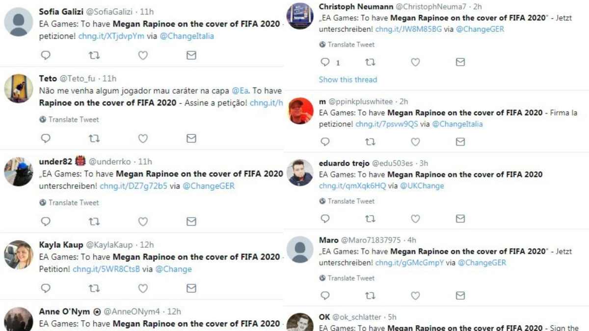 Petition to have Megan Rapinoe on the cover of FIFA 2020