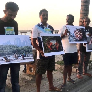 Fishermen protest against the Coastal Road project.