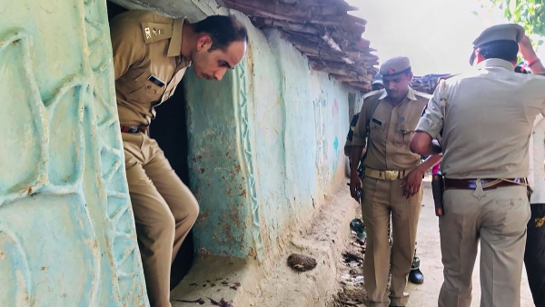 S P Salman Taj Patil visits the house of a victim killed over a property dispute, in Sonbhadra district, Wednesday, July 17, 2019.