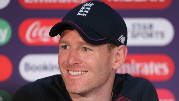 England captain Eoin Morgan speaks during a press conference after attending a training session ahead of the Cricket World Cup final match.