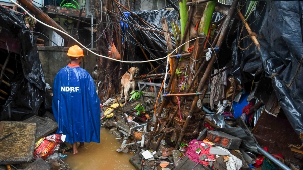 A member of the rescue team with a sniffer dog searches for people trapped under the debris of a wall that collapsed during heavy rain in Malad East, Mumbai.