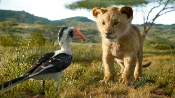 Simba and Zazu in a still from the 2019 live action film <i>The Lion King</i>.