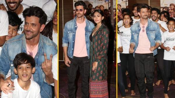 Hrithik Roshan and Mrunal Thakur meet kids from an NGO