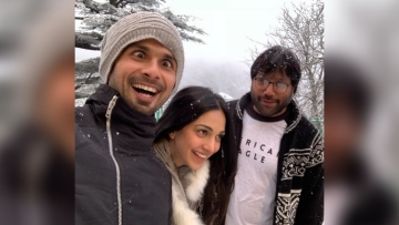 Shahid Kapoor and Kiara Advani with <i>Kabir Singh</i> director Sandeep Vanga.