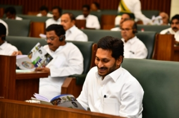 Amaravati: Andhra Pradesh Chief Minister Y.S. Jagan Mohan Reddy during the presentation of the annual state Budget 2019-20 by Finance Minister Buggana Rajendranath at the Legislative Assembly, in Amaravati on July 12, 2019. (Photo: IANS)