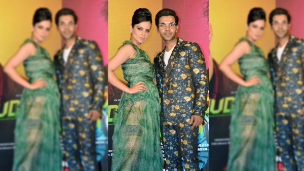 Kangana Ranaut and Rajkummar Rao at the <i>Judgementall Hai Kya</i> song launch event.