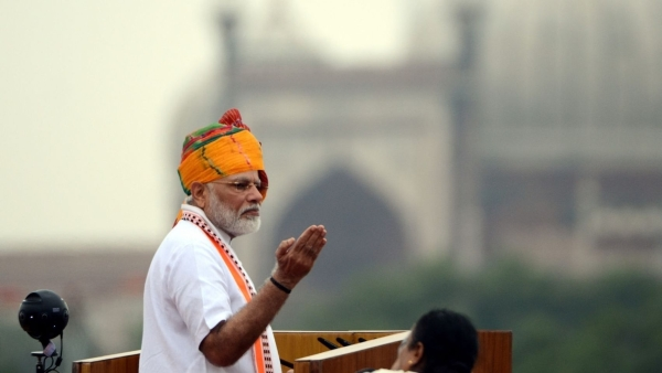 Prime Minister Narendra Modi addresses the nation on the 73rd Independence Day from the ramparts of Red Fort, in New Delhi on 15 August, 2019.