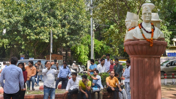 Busts of Subhash Chandra Bose, Bhagat Singh and Veer Savarkar installed outside the Arts Faculty of Delhi University in New Delhi.