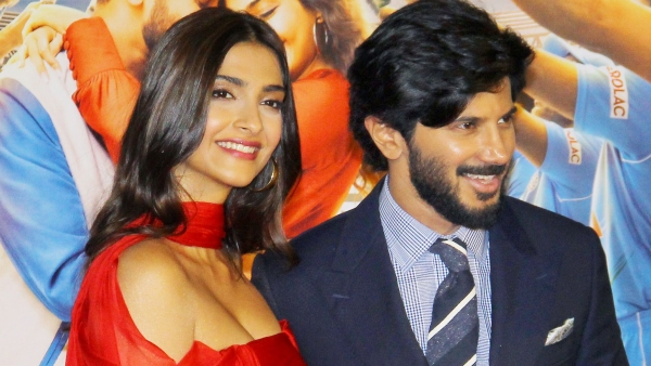 Sonam K Ahuja and Dulquer Salmaan at the trailer launch of <i>The Zoya Factor. </i>