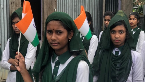 Students celebrating Independence Day in Assam.