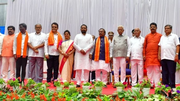 CM Yediyurappa along with some of his Cabinet ministers on 20 August.
