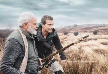 "Prime Minister Narendra Modi will appear in an episode of ""Man Vs Wild"", the popular television programme on Discovery Channel, on August 12. Adventurer and television presenter Edward Michael Grylls, popularly known as Bear Grylls, will appear in the programme along with Modi. The programme, aimed at creating awareness about animal conservation and environmental change, will be aired at 9 p.m. (Photo Credit: Discovery Channel)"