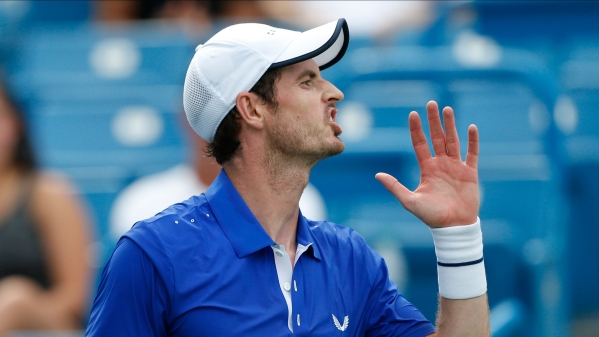 Andy Murray, of Great Britain, reacts after a point against Richard Gasquet, of France, during first round play at the Western & Southern Open tennis tournament, Monday, Aug. 12, 2019, in Mason, Ohio.