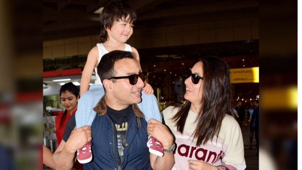 Pics: Saif, Kareena & Taimur Return  After Two Months in Europe