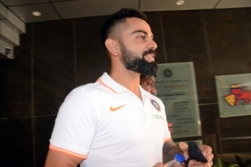 Mumbai: Indian captain Virat Kohli arrives to address a press conference ahead of the team