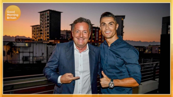 Cristiano Ronaldo with Piers Morgan.