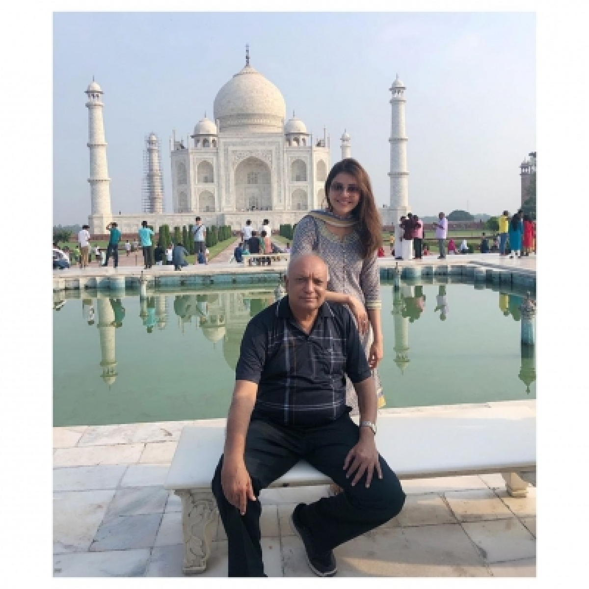 Image result for latest images of Kajal Aggarwal visits Taj Mahal for the first time and is mesmerized by its beauty, see pics