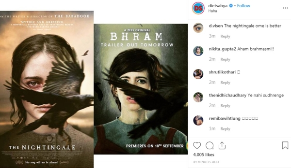 <i>The Nightingale</i> poster (L) and <i>Bhram</i> poster (R).