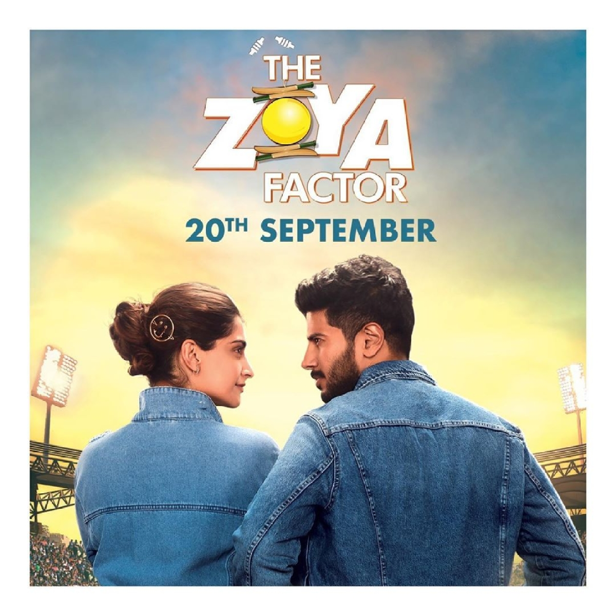 <i>The Zoya Factor </i>poster featuring Sonam and Dulquer.