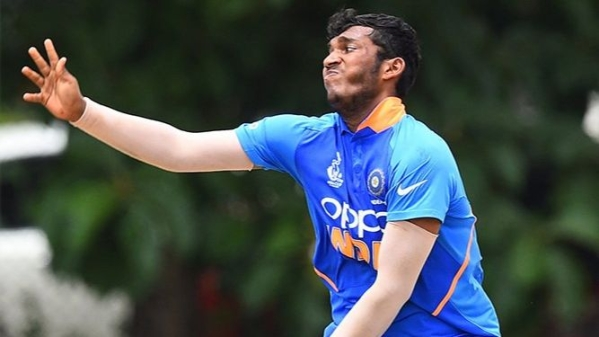 Atharva Ankolekar in the U-19 Asia Cup Final against Bangladesh.