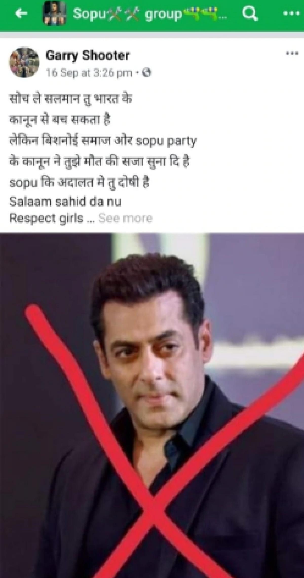 Salman receives death threat on social media