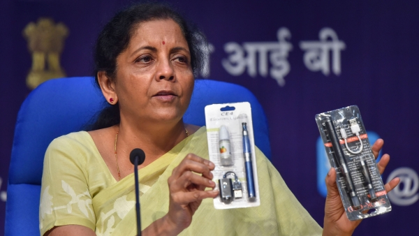Finance Minister Nirmala Sitharaman at a press conference on Wednesday, 18 September.