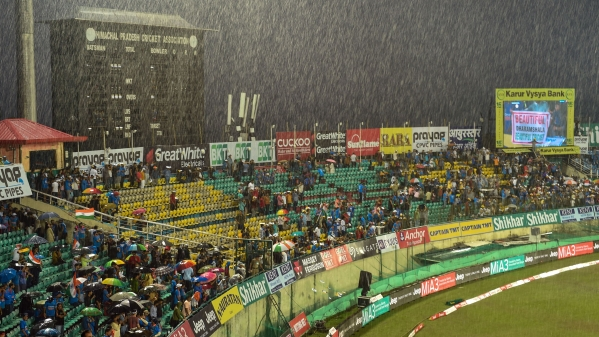 The first T20 international between India and South Africa was abandoned without a ball being bowled at Dharamshala.