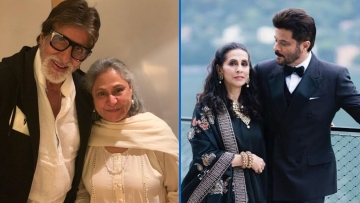 Amitabh Bachchan and Anil Kapoor with their respective spouses Jaya Bachchan and Sunita Kapoor.